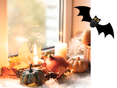 A window with Halloween decorations