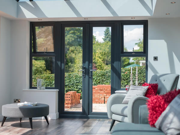 Grey Conservatory with French Doors